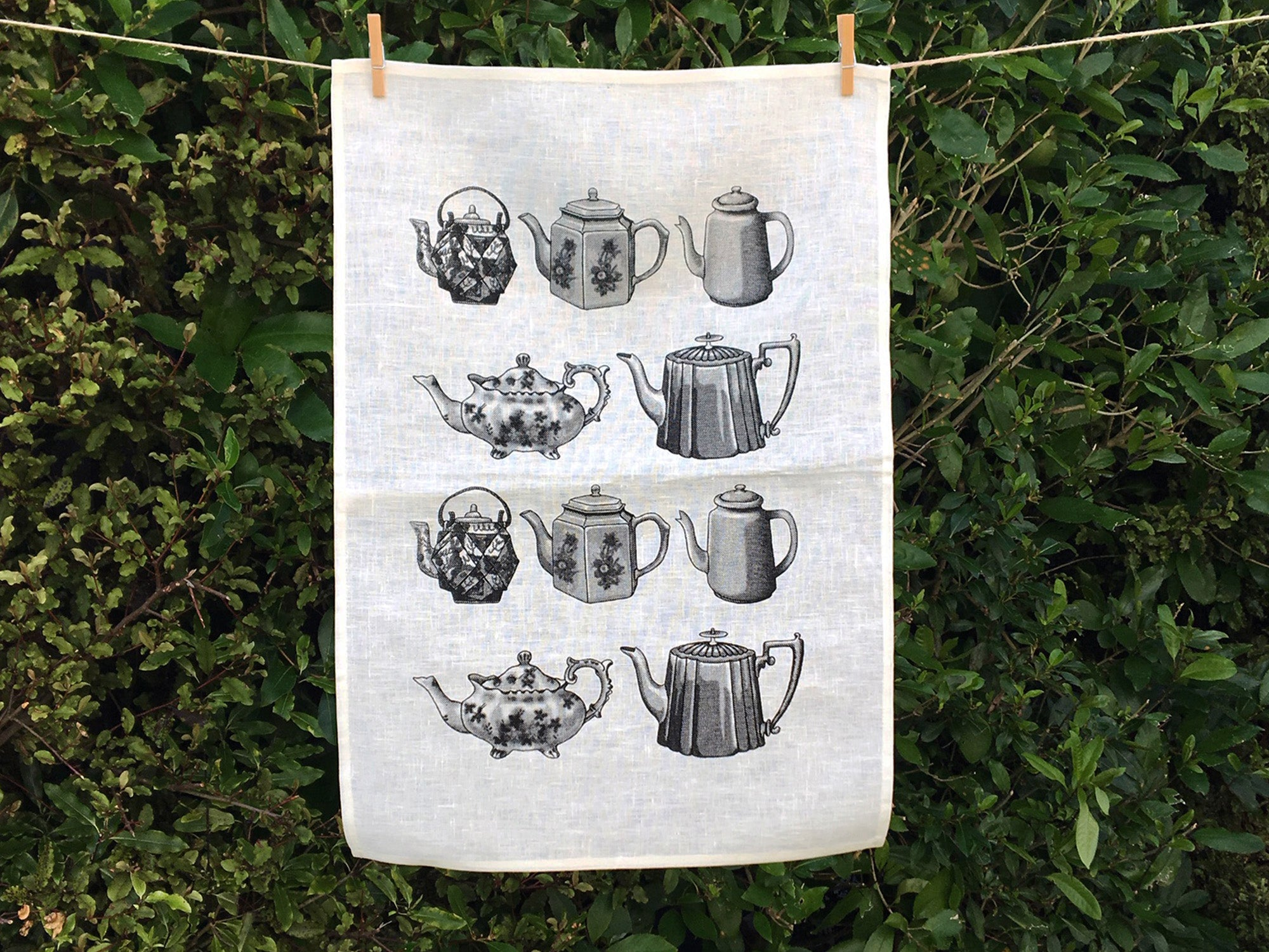 Black teapot tea towel - white linen