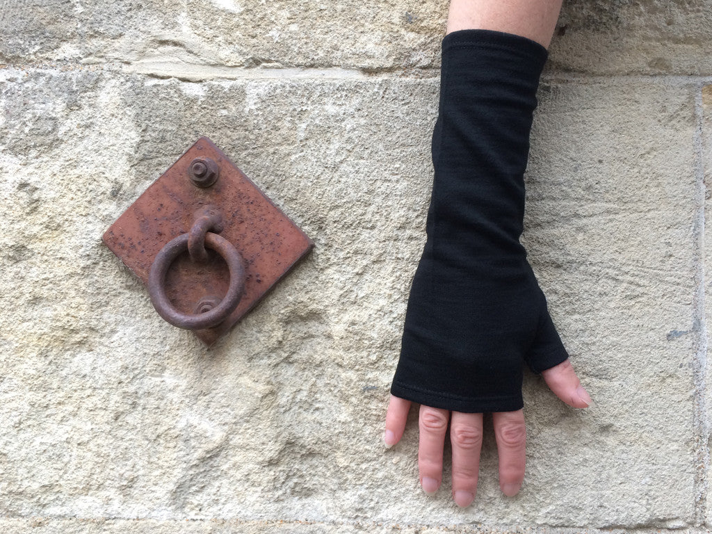 Black merino fingerless gloves