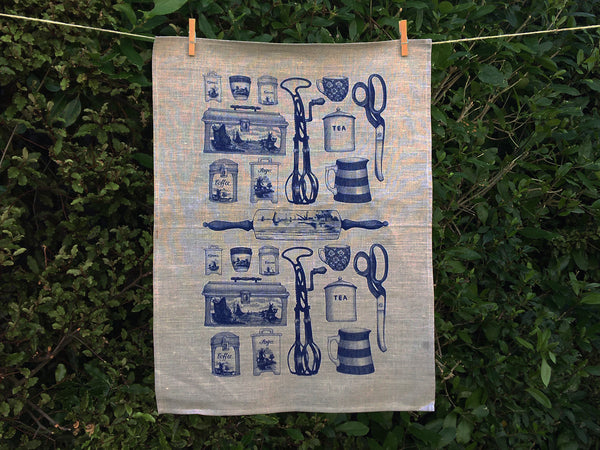 Blue Olveston tea towel - natural linen
