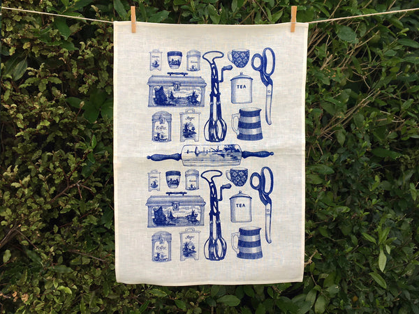 Blue Olveston tea towel - cream linen