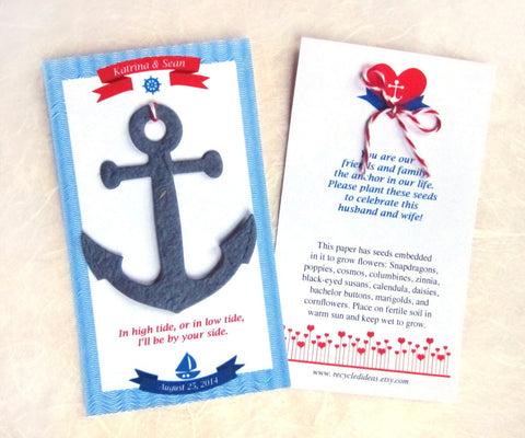 Plantable seed paper anchors - navy plantable anchor red seed paper anchor