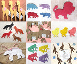 assorted plantable paper animals - zoo animals seed paper