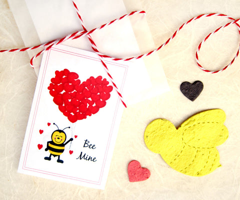 plantable paper bee mine valentines recycledideas favors