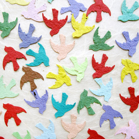 plantable paper confetti seed birds - assorted colors