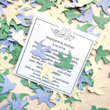 Recycled Ideas Favors plantable paper cream, kelly and periwinkle birds with card