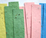 herb seed paper bookmarks pink and green