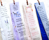 Recycled Ideas Favors plantable paper bookmarks with vellum overlays