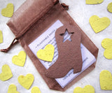 Recycled Ideas Favors plantable seed paper boots and hearts