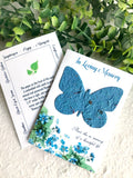 butterfly seed paper memorial card with planting instructions by recycled ideas favors
