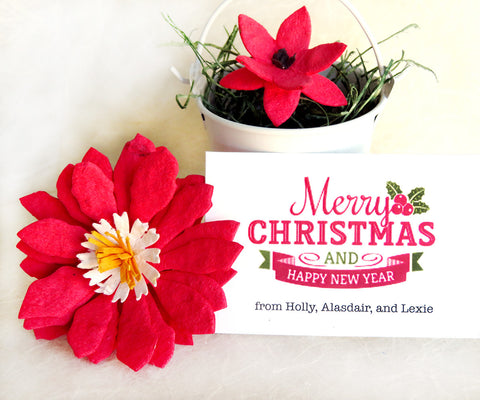 Recycled Ideas Favors plantable paper poinsettia with gift pail and card