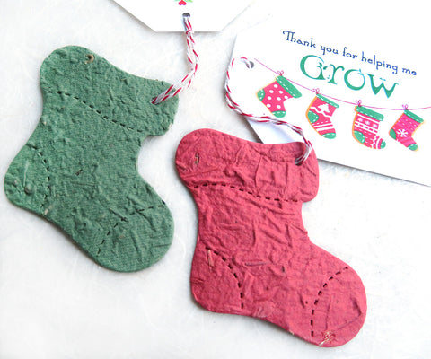 8 Christmas Seed Bomb Socks Stockings Stuffer - Option for custom printed tags / business cards