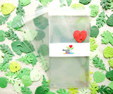 Recycled Ideas Favors cellophane favor bags with plantable paper leaves