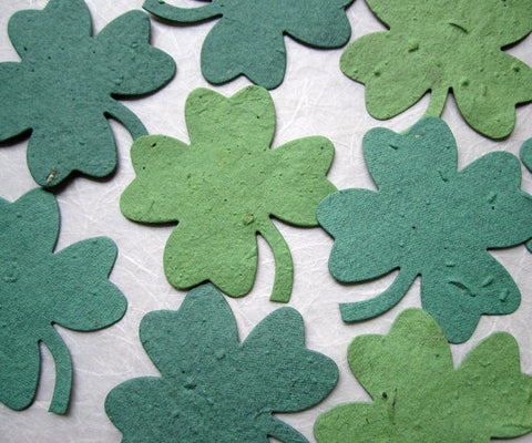 large plantable green clovers flower seed paper