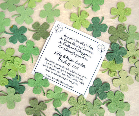 200 plantable paper clovers flower seed confetti clovers flower plantable paper lucky in love wedding favors card clovers seed paper mightylinksfo