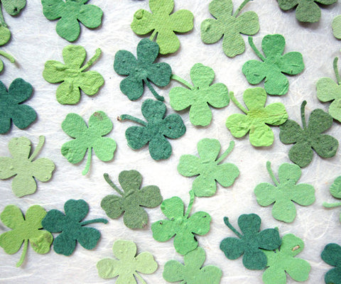 Plantable confetti clovers flower seed clover plantable paper clover wedding favors recycledideas