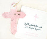 Recycled Ideas Favors plantable paper pink cross with card