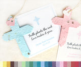 Recycled Ideas Favors plantable paper blue and pink crosses with cards