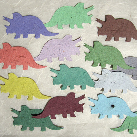 Recycled Ideas Favors plantable seed paper dinosaurs triceratops