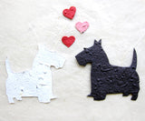 Recycled Ideas Favors plantable paper Scottie dog and Westie dog