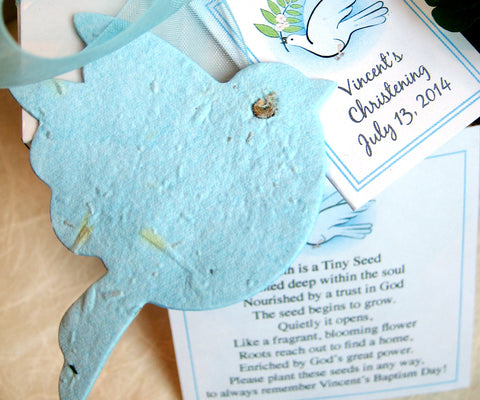 flower seed paper doves baptism favor