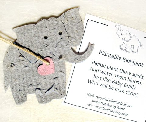 Recycled Ideas Favors plantable paper elephant gray with pink heart