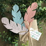 seed paper feathers Love Grows Wild Tags with box