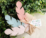 vintage colors seed paper feathers with tag and favor box