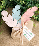 boho wedding favors seed paper feathers