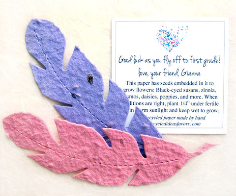 Recycled Ideas Favors plantable paper feathers with card