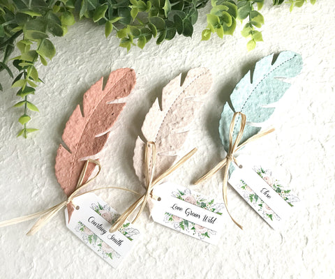 seed paper feathers - pastel with tags
