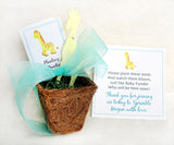 Recycled Ideas Favors plantable paper giraffe with cards, ribbon and plantable pot