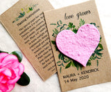 Seed Paper Love Grows Wedding Favors Pink Heart Recycled Ideas Kraft Paper