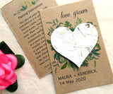 Seed Paper Love Grows Wedding Favors White Heart Recycled Ideas Kraft Paper