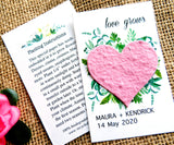 Seed Paper Love Grows Wedding Favors Pink Heart Recycled Ideas