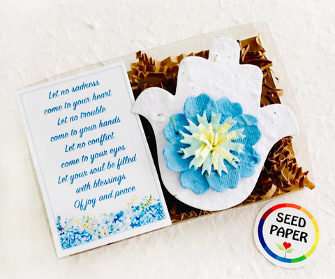 plantable seed paper white hamsa with blue flower eye recycled ideas favors
