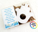 plain white flower seed paper hamsa in box with good luck poem