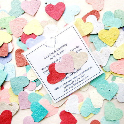 Recycled Ideas Favors plantable paper rainbow color hearts with card