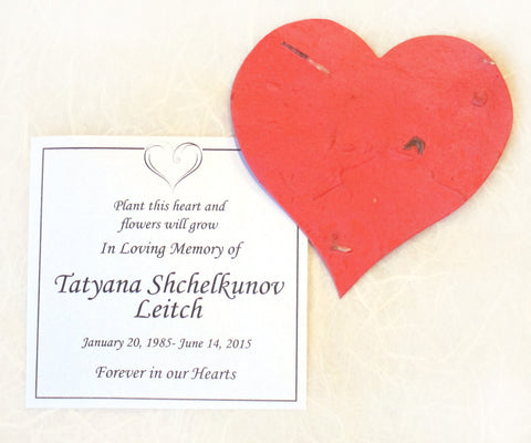 Recycled Ideas Favors plantable paper heart with memorial card