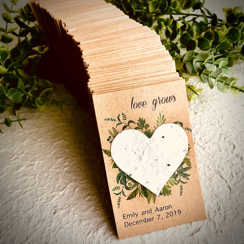 40+ Personalized Love Grows Wedding Favors - Kraft Brown with Greenery