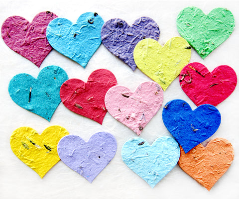 two inch seed paper hearts rainbow
