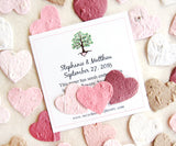Recycled Ideas Favors plantable paper red, pink and tan hearts with card