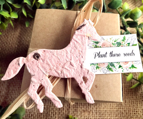 Recycled Ideas Favors plantable paper horse with card and gift box