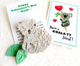 seed paper koala valentines with green leaves