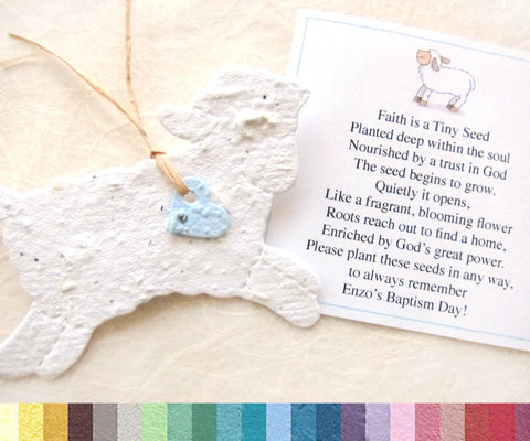 Recycled Ideas Favors plantable paper lambs with baby blue hearts