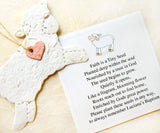 Recycled Ideas Favors plantable paper lambs with Faith is a Tiny Seed poem card - pink hearts