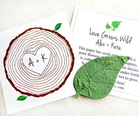 Recycled Ideas Favors green plantable paper leaf with tree ring style cards