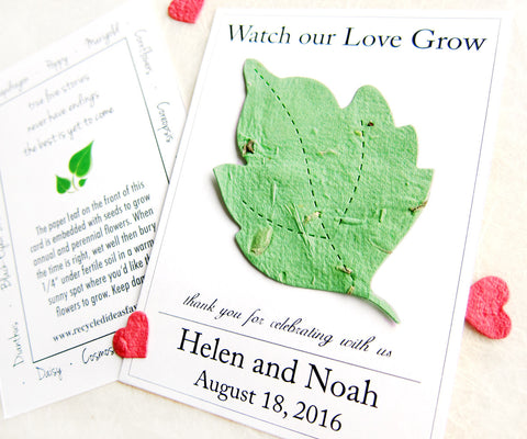 Watch our love grow plantable leaf card for weddings