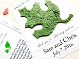 Watch our love grow plantable oak leaf wedding favors card