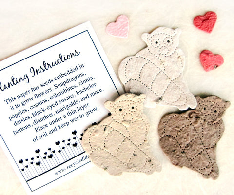 Recycled Ideas favors plantable paper lemurs with hearts