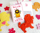 Recycled Ideas Favors plantable paper lions with cards